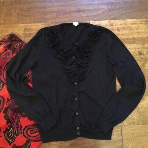 J.Crew Black Cotton Cardigan Sweater Ruffle Neck